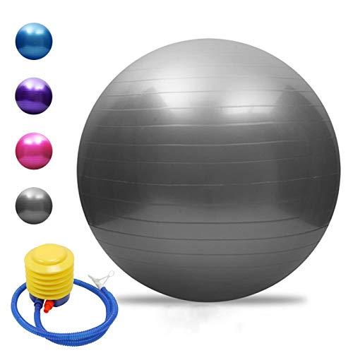 MEXEE Pelota de yoga engrosada de estabilidad de la bola de equilibrio de pilates barro físico fitness pelota de ejercicio 75cm gris