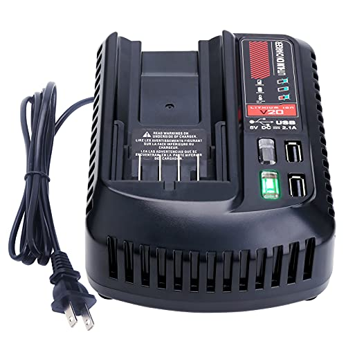 Lasica V20 Battery Fast Charger CMCB104 w/2 USB Ports Replacement for Craftsman Battery 20V V20 Charger CMCB100 CMCB124 Craftsman 20 Volt Max CMCB202 CMCB204 CMCB206 CMCB201 V20 Lithium Battery Packs