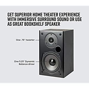 Polk Audio T15 100 Watt Home Theater Bookshelf Speakers – Hi-Res Audio with Deep Bass Response   Dolby and DTS Surround   Wall-Mountable  Pair, Black