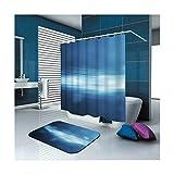 KnSam Duschvorhänge Aus Polyester Duschvorhang Und Bodenmatte Set Fackel Duschvorhang Breit: 150Cm Höhe: 200Cm Blau