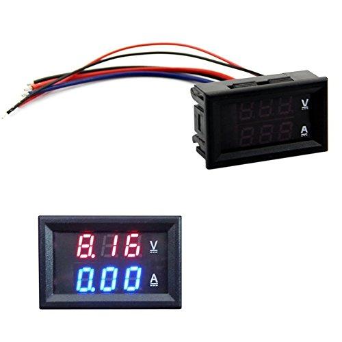 Voltmeter/Amperemeter / Amperemeter (Gleichstrom, 100 V, 10 A) Blau + LED Rot Ampere Doppel-Digitales Messwerkzeug