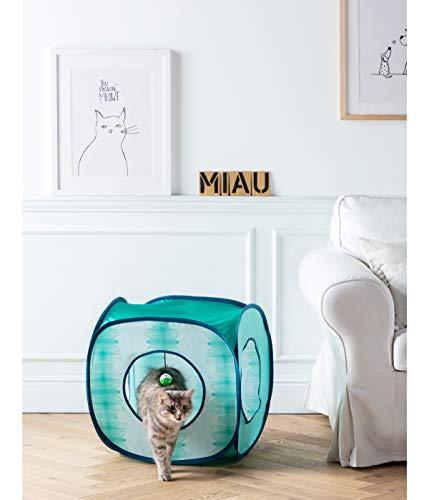Dehner Katzenspielzeug, Katzentunnel Dice, ca. 50 x 50 x 50 cm, Polyester, blau