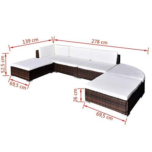 Nishore Rattan Lounge Set Polyrattan Loungemöbel Loungeset Loungegruppe aus PE-Rattan 16-teilig 695 x 695 x 525 mm (L x B x H) - 5