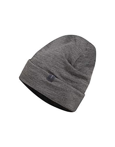 Dilling Mütze aus Wollfrottee - 100% Bio-Merinowolle Dunkelgrau Melange