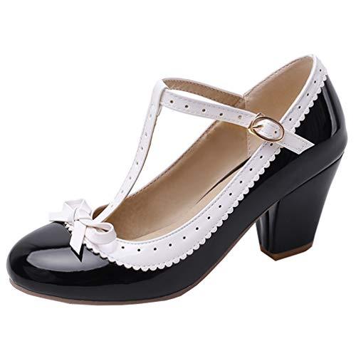 LOVOUO Mary Jane Cosplay Femme Lanière Escarpin Vintage Rockabilly Lolita Talon Carré Bloc Haut Vernis avec Noeud Boucles Chaussures 7CM(Noir,39)