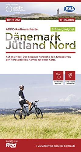 ADFC-Radtourenkarte DK1 Dänemark/Jütland Nord, 1:150.000, reiß- und wetterfest, GPS-Tracks Download, E-Bike geeignet: Auf ans Meer! Der gesamte ... einer Karte. (ADFC-Radtourenkarte 1:150000)