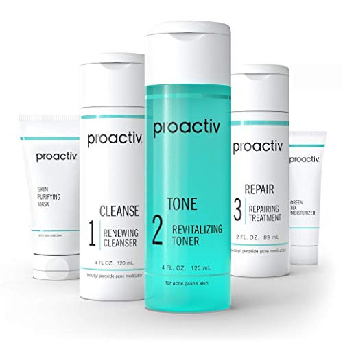 Proactiv 3 Step Acne Treatment - Benzoyl Peroxide Face Wash, Repairing Acne Spot Treatment for Face And Body, Exfoliating Toner - 60 Day Complete Acne Skin Care Kit