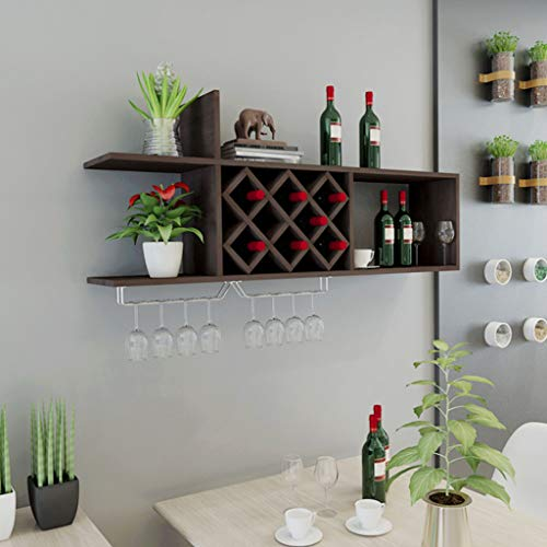 Kitchen furniture - Étagère murale en bois, étagère à vin étagère murale à vin étagère murale Restaurant rhombique suspendue étagère à vin porte-vin WXP (Couleur : B)