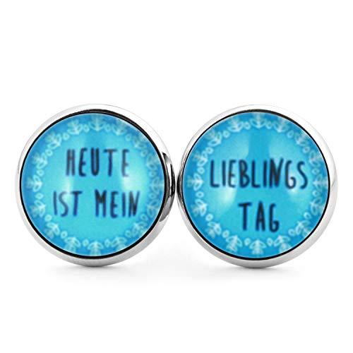 SCHMUCKZUCKER Damen Ohrstecker mit Spruch Heute ist mein Lieblingstag witzige Edelstahl Ohrringe Silber Blau 14mm Blau