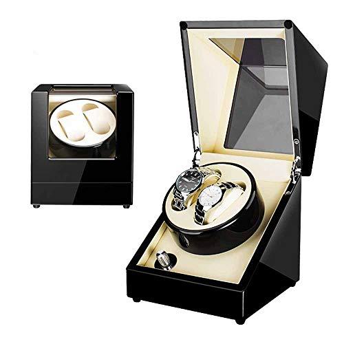 ZHYF Doppel Automatik Uhrenbeweger Ebenholz Mechanischer Tisch Drehteller 2 Tisch Shaker Dual Uhren Rotation Aufbewahrungskoffer Display Box Für Automatische Mechanische Uhren