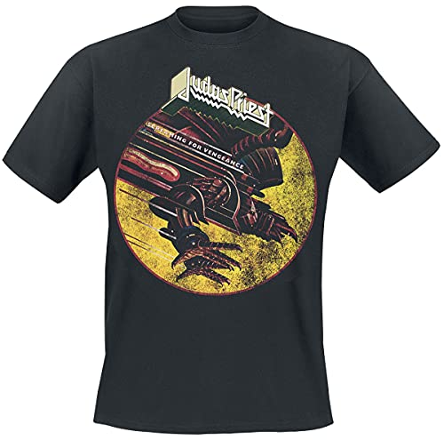 Judas Priest SFV Distressed Hombre Camiseta Negro L, 100% algodón, Regular