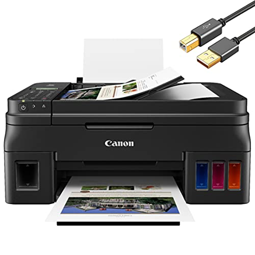 Canon PIXMA G Series Wireless MegaTank All-in-One Color Inkjet Printer for Home Office - Print Copy Scan Fax - 20-Sheet ADF, 4800 x 1200 dpi, WiFi Direct, High-Volume Supertank - ORPHYER Printer Cable