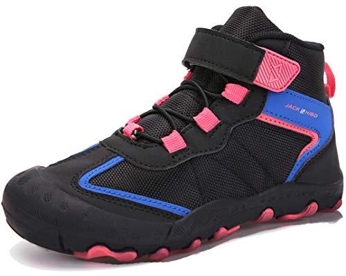 SUYSTEX Kinderschuhe Wanderschuhe Jungen Mädchen Trekkingschuhe Outdoor Kinder Schuhe Laufschuhe Winterschuhe Winterstiefel Winter Outdoorschuhe Komforbable Hiking, 32 EU Schwarz Pink