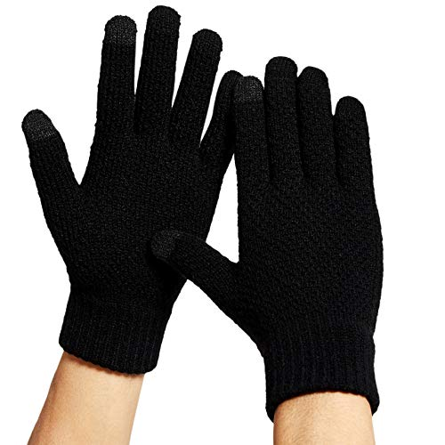 DOVAVA Handschuhe Herren schwarz,Strick handschuhe Herren,Touchscreen Handschuhe Fahrradhandschuhe,Handschuhe Damen in Schwarz Dunkelgrau und Khaki mit weichem Innenfutter (Schwarz)