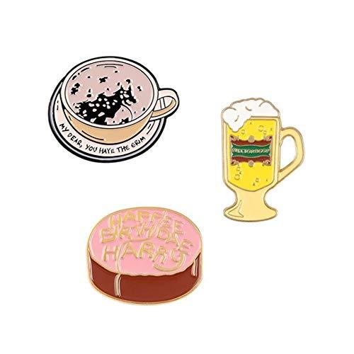 Jubaren7 Magia cumpleaños Comida Broche de Cerveza de Mantequilla Torta de la Taza de café broches Camisa de Solapa Bolsa Placa Book Movie joyería Regalo for los Fans Broche (Color : Set)
