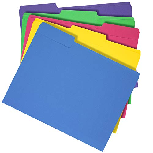 Amazon Basics 3 Tab Heavyweight Manila File Folders, Letter Size, Assorted Colors, 50/Box