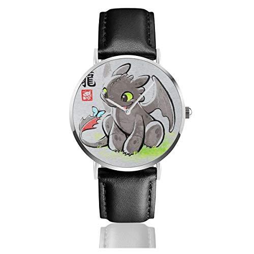Unisex Business Casual How to Train Your Dragon Zahnless Ink Watches Quarz Leder Armbanduhr mit schwarzem Lederband für Männer und Frauen Young Collection Geschenk