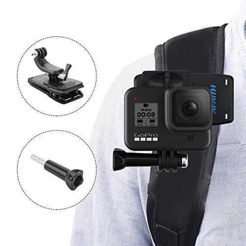 AFAITH Glaube 360 ° Drehbare Rucksackhalterung Schnellwechselklemme Ständer Huthalterung für GoPro Hero 4 5 6 7 8 Black Hero 2018 Session Fusion Xiaomi YI SJCAM DJI OSMO Action