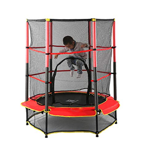 JIASHU Kids Trampoline, Mini Trampoline for Indoor/outdoor, with Enclosure Net and Safety Pad, with Built-in Zipper, Make Great Gift 55 * 63 in