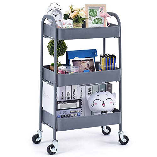 TOOLF 3 Tier Rolling Cart, No Screw Metal Utility Cart, Easy Assemble Utility Serving Cart,Sturdy Storage Trolley with Handles, Locking Wheels,for Kitchen Garage Home Bedroom Bathroom, Grey