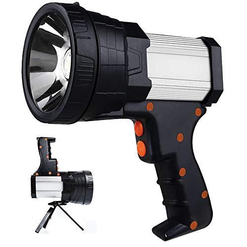 Lebote Tec Super Bright Spotlight Rechargeable Spotlight 10000mAh LED Handheld Flashlight 6000 Lumen Searchlight Long Lasting Large Flashlight with Side Light & Foldable Tripod for Camping Emergencies