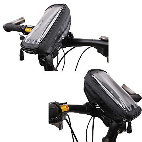 juehu Fahrrad Rahmentasche 1 Pack,TPU Touchscreen Kopfhörerloch,satteltaschen für Fahrrad rennrad Tasche werkzeugtasche Fahrrad für Smartphones(passend bis zu 6,5 Zoll) Fahrradtasche Rahmen
