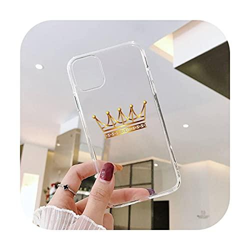 lujo corona princesa rey moda teléfono cajas transparente para iPhone 6 7 8 11 12 s mini pro x XS XR MAX Plus SE cubierta funda-a2-iphone 6 o 6s