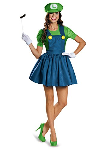 Disguise Women's Luigi Skirt Version Adult Costume, Green/Blue, X-Large