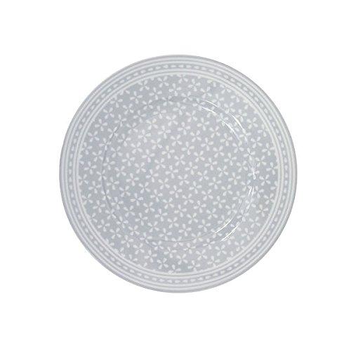 Krasilnikoff - Teller/Frühstücksteller / Kuchenteller - Daisy - Porzellan - grau - weiß geblümt - Ø 20 cm
