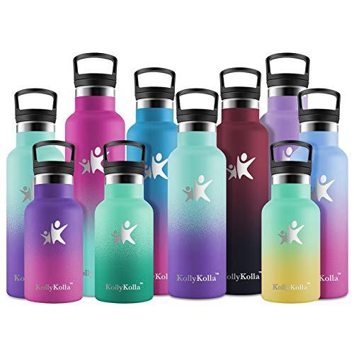 KollyKolla Gourde INOX Isotherme, Bouteille d'eau avec Paille & Filtre sans BPA, Isolation à Double Paroi en Acier Inoxydable, pour Enfant & Adulte, Sport, Gym, (500ml Macaron Vert + Violet Foncé)