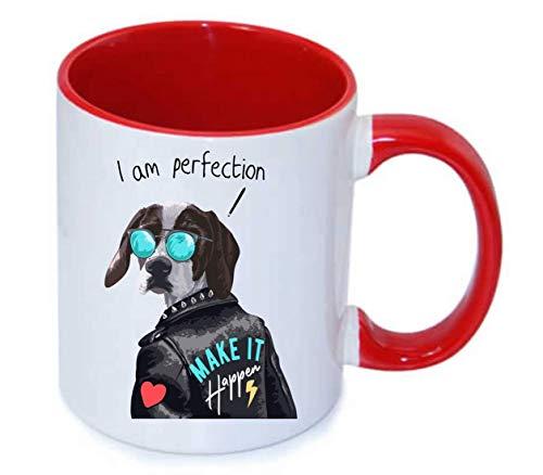 Druckerlebnis24 Tasse - Hund Lederjacke Sonnenbrille Herz - Kaffee-Tasse 330ml - Unisize aus Keramik - Tee