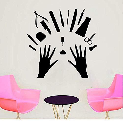 YFKSLAY Väggklistermärken och väggmålningar nagelsalong väggklistermärken vinyl borttagbar väggdekoration konst fönsterdekaler nagelkonst art deco väggmålning butik 76 x 74 com