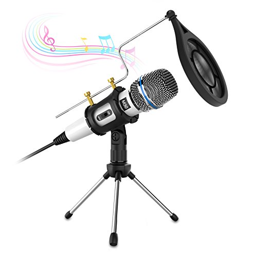 Condenser Microphone,Valoin Professional Home Studio Podcast Vocal Recording Microphone with Tripod Stand for PC Laptop Tablet and Phone