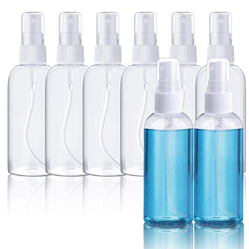X99 8 Stück Sprühflasche 100ml, Transparente Zerstäuber Sprayflasche Leer Nachfüllbar Feinen Nebel parfümzerstäuber Tragbares Reiseflaschen Set