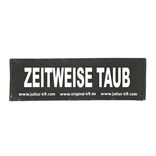 Julius-K9 162LR-G-34766 Klettaufschrift, ZEITWEISE TAUB, schwarz