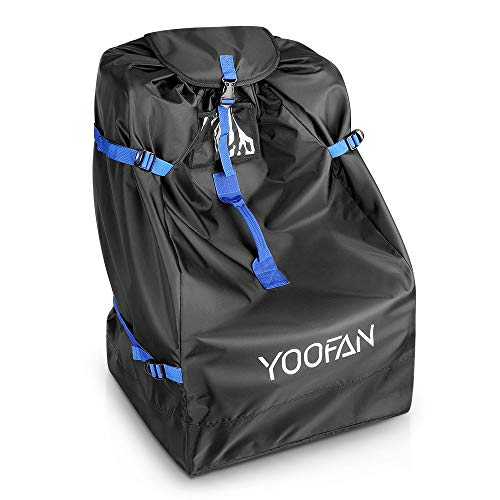 YOOFAN Car Seat Travel Bag for Airplane - Waterproof Carseat Carrier with Full Protective Cover, Adjustable Side Straps and 4 Buttom Pads - Universal Infant Car Seat Bags for Air Travel (Black+Blue)