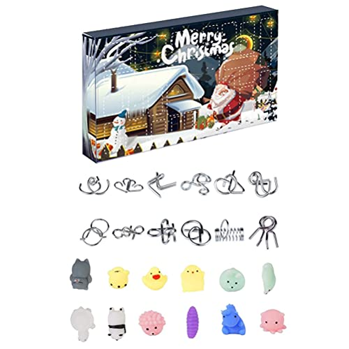 Mrisata Juego de 24 rompecabezas de Navidad con alambre de metal y rompecabezas de plástico, calendario de Adviento 2021, calendario de cuenta regresiva, caja de regalo para niños y adultos