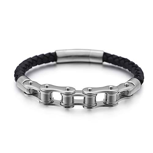 ZSCRL Cooles Fahrrad Armband, europäische und amerikanische Herren Titan Stahl Armband Schmuck, 21 * 0,6 cm Stahlfarbe