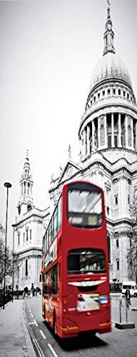 Vinilos para Puertas Autoadhesiva Extraíble Impermeable Papel Pintado Póster Decorativas de pegatinas puertas para Cuarto y Baño 86x200cm - Escena de Una Calle de Londres