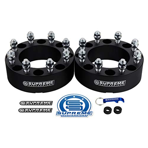"Supreme Suspensions - 2pc 2"" Wheel Spacers for 1994-2009 Dodge Ram 3500 2WD 4WD 8x6.5"" (8x165.1mm) BP with 9/16""x18 Studs 130mm Center Bore [Black]"