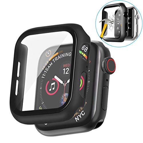 Case for Apple Watch Series 4 & Series 5 with Buit in Tempered Glass Screen Protector- All Around Hard PC Protective Case High Definition Clear Ultra-Thin Cover for Apple watch Series 4/5 (38mm)
