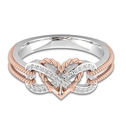 Ztuo Women Infinity Rings Rose Gold Two-Tones Love Heart Arrow Wedding Engagement Princess Silver Rings 7