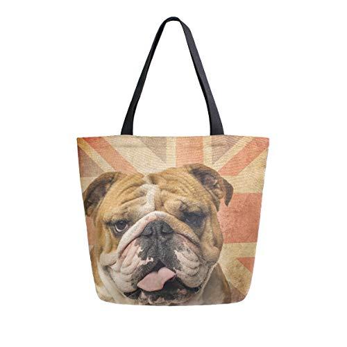 Bigjoke - Bolsa de lona con diseño de perro bulldog inglés grande...
