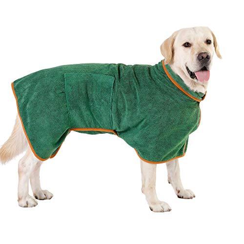 PETTOM Hundebademantel Mikrofaser Badetuch Hund Bademantel für Kleine Mittlere und Große Hunde, XL