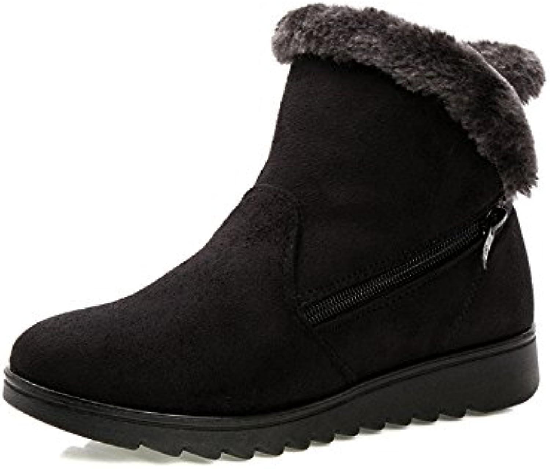 LingGT Zipper Women Boots Fur Lined Cotton Ankle Soft Winter Flat shoes (color   Black, Size   CA 10)