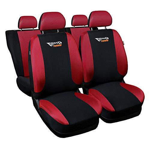 3er Set Saferide Autositzbezüge PKW universal | Auto Sitzbezüge Polyester Rot mit Airbag | für Vordersitze und Rückbank | 1+1 Autositze vorne und 1 Sitzbank hinten teilbar 2 Reißverschlüsse