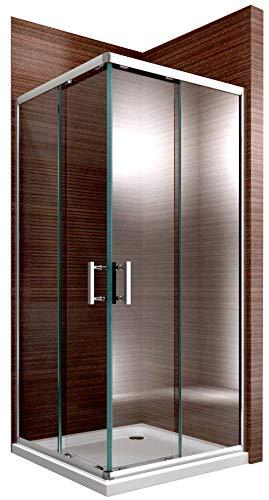 Duschabtrennung Schiebetür EX506-Kombi NANO 6mm ESG-Sicherheitsglas Eckeinstieg Gerahmte Dusche, Maße Duschkabine:80x80cm, Duschtasse:Ohne Duschtasse