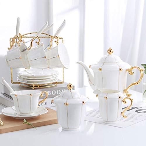 Juego de tazas de té Sistema de la taza de café de cerámica, 6 onzas (unos 180 ml) y 6 platillos, 6 cucharadas, cafetera, lechera, azucarero, Café Stand, adecuados for el café, leche, té de la tarde d