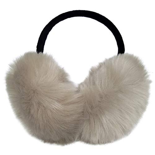 LETHMIK Women's Faux Fur Foldable Big Earmuffs Winter Outdoor Ear Warmers Beige