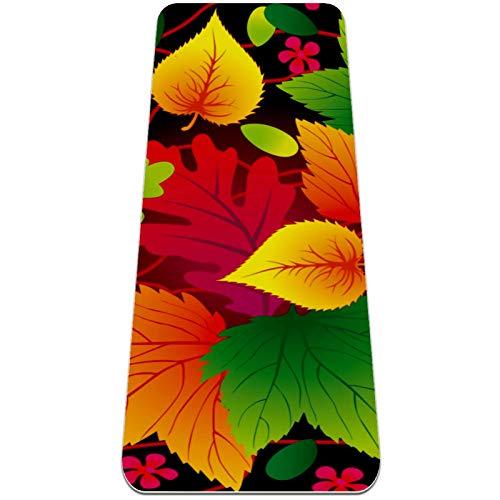 Alfombra de yoga con patrón de hojas coloridas, respetuosa con el medio ambiente, antideslizante, alfombrilla de entrenamiento para yoga, pilates y ejercicios de piso 72 x 32 pulgadas